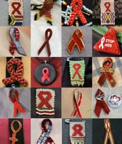 A composite photo of twenty of the hundreds of AIDS pins worn at AIDS Conference in Toronto
